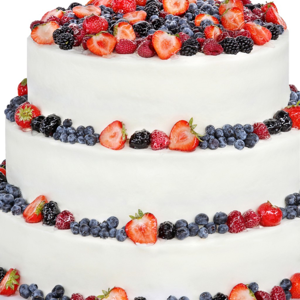 Wedding Cake On White Background
